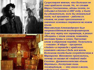 Существует мнение, что Волошин не знал арабского языка. Но, по словам Марии С