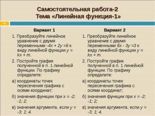 * Самостоятельная работа-2 Тема «Линейная функция-1» Вариант 1 1. Преобразуйт