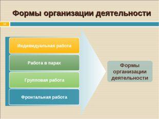 * Формы организации деятельности Индивидуальная работа Работа в парах Группов