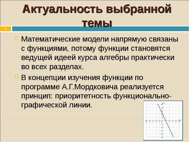 * Актуальность выбранной темы Математические модели напрямую связаны с функци...