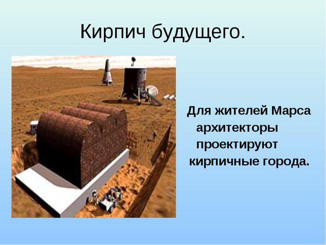 Кирпич будущего.  Для жителей Марса архитекторы проектируют кирпичные города.