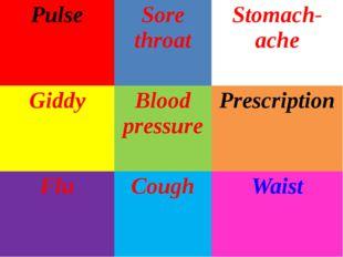 Pulse Sore throat Stomach-ache Giddy Blood pressure Prescription Flu Cough Wa