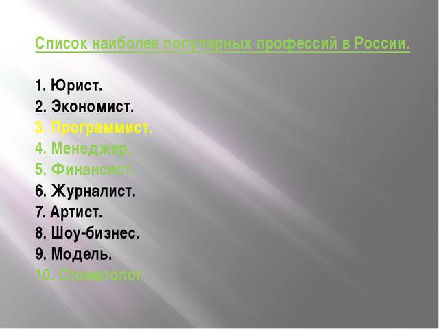 Список наиболее популярных профессий в России. 1. Юрист. 2. Экономист. 3. Про...