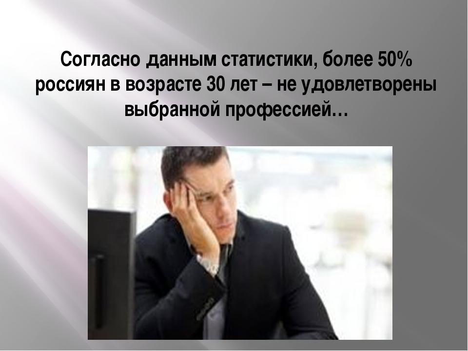 Согласно данным статистики, более 50% россиян в возрасте 30 лет – не удовлетв...