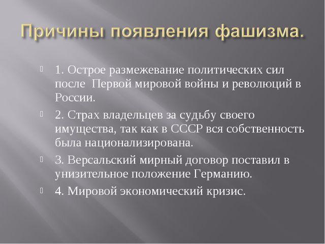 1. Острое размежевание политических сил после Первой мировой войны и революци...