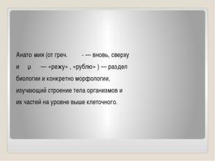 Анато́мия (от греч. ἀνα- — вновь, сверху и τέμνω — «режу» , «рублю» ) — разд