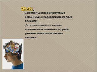 Цель: - Ознакомить с интернет-ресурсами, связанными с профилактикой вредных п
