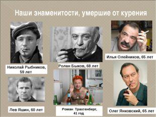 Наши знаменитости, умершие от курения Николай Рыбников, 59 лет Ролан Быков, 6