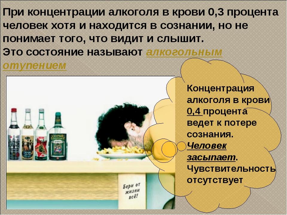 При концентрации алкоголя в крови 0,3 процента человек хотя и находится в соз...