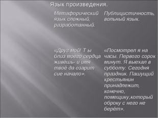 Язык произведения. Метафорический язык сложный, разработанный.Публицистично