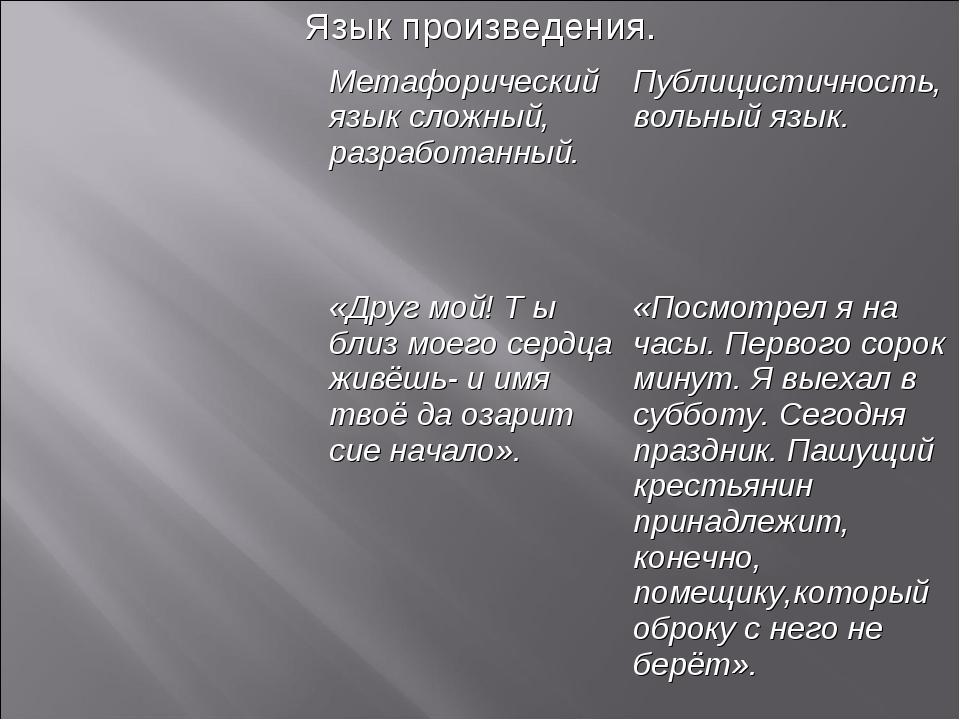 Язык произведения. Метафорический язык сложный, разработанный.Публицистично...