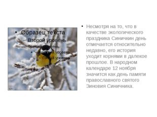 Несмотря на то, что в качестве экологического праздника Синичкин день отмечае