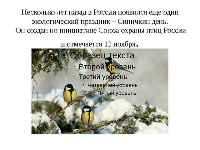 Несколько лет назад в России появился еще один экологический праздник – Синич...