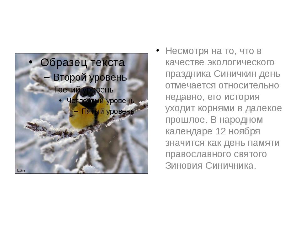 Несмотря на то, что в качестве экологического праздника Синичкин день отмечае...