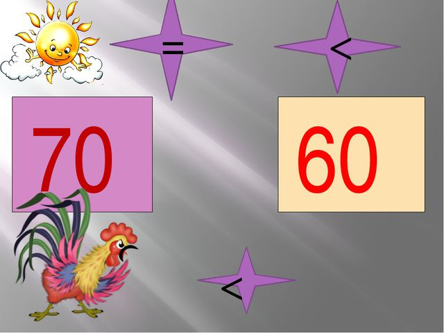 70 60 < < =