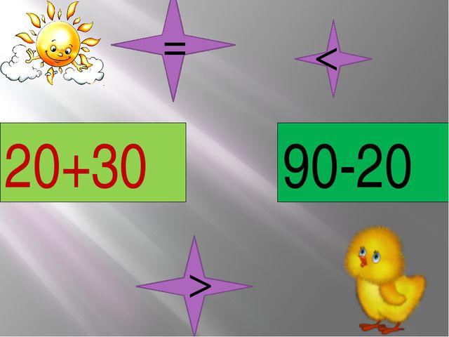 20+30 90-20 < > =