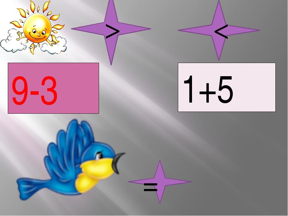 9-3 1+5 = < >