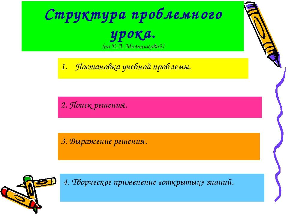 Структура проблемного урока. (по Е.Л. Мельниковой) Постановка учебной проблем...