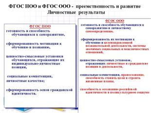 ФГОС НОО и ФГОС ООО - преемственность и развитие Личностные результаты ФГОС Н