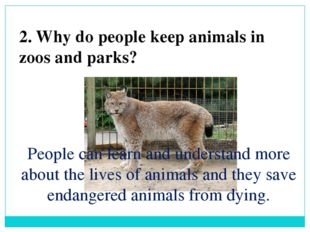 2. Why do people keep animals in zoos and parks? People can learn and underst