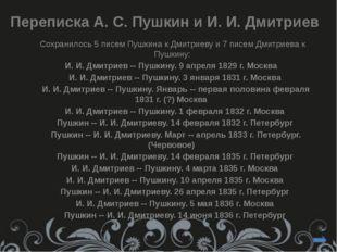 Упоминания о Дмитриеве в статьях и переписке Пушкина 1830-х - благожелательн