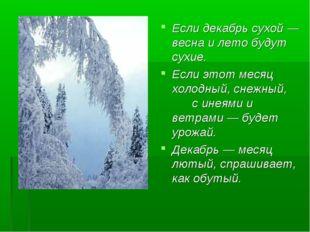 Если декабрь сухой — весна и лето будут сухие. Если этот месяц холодный, снеж