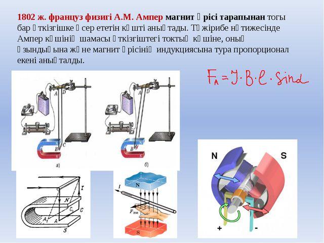 1802 ж. француз физигі А.М. Ампер магнит өрісі тарапынан тогы бар өткізгішке...