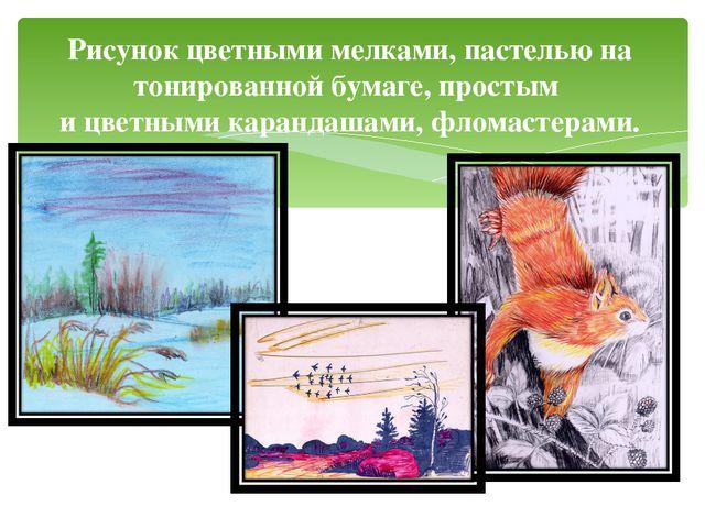 Рисунок цветными мелками, пастелью на тонированной бумаге, простым и цветными...