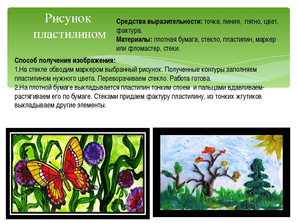 Рисунок пластилином Средства выразительности: точка, линия, пятно, цвет, факт...