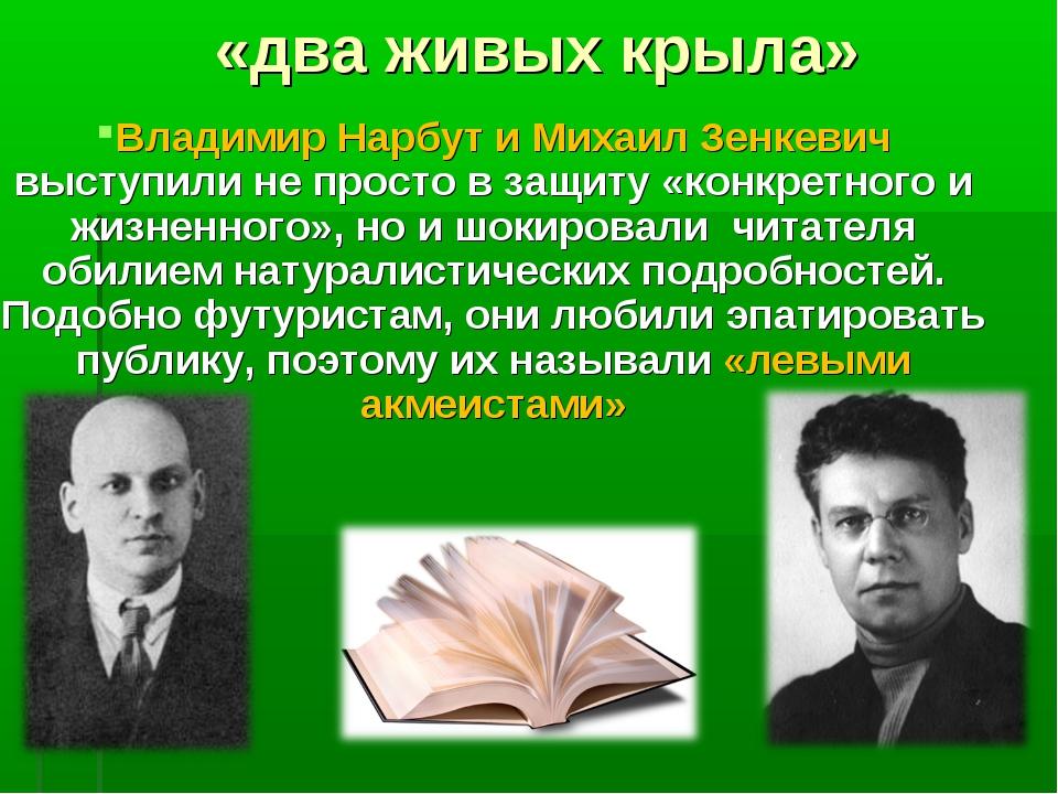 «два живых крыла» Владимир Нарбут и Михаил Зенкевич выступили не просто в защ...