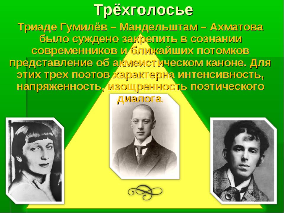 Трёхголосье Триаде Гумилёв – Мандельштам – Ахматова было суждено закрепить в...
