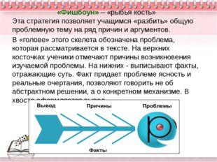 «Фишбоун» – «рыбья кость» Эта стратегия позволяет учащимся «разбить» общую п