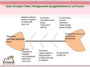 Урок истории (Тема «Феодальная раздробленность на Руси») Причины распада Древ