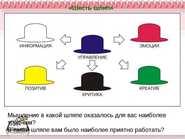 «Шесть шляп» Мышление в какой шляпе оказалось для вас наиболее трудным? В как...