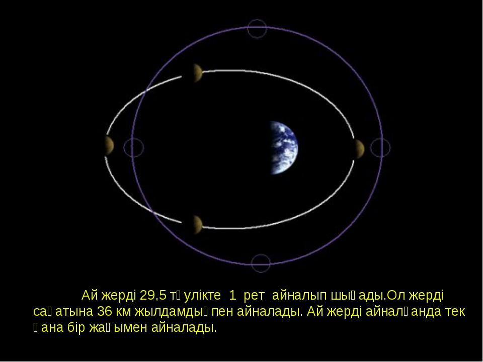 Орбита Луны. Фазы Луны. Ай жерді 29,5 тәулікте 1 рет айналып шығады.Ол жерді...