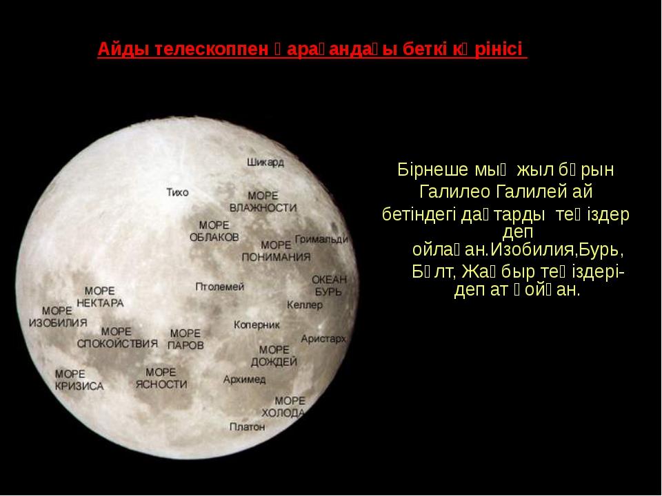 Айды телескоппен қарағандағы беткі көрінісі Бірнеше мың жыл бұрын Галилео Гал...