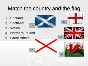 Match the country and the flag England Scotland Wales Northern Ireland Great