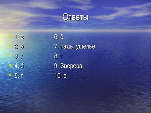 Ответы 1. в6. б 2. а7. падь, ущелье 3. г8. г 4. б9. Зверева 5. г...