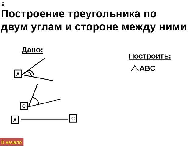 Построение треугольника по двум углам и стороне между ними Дано: Построить: 9...