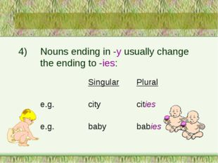4)	Nouns ending in -y usually change 		the ending to -ies: