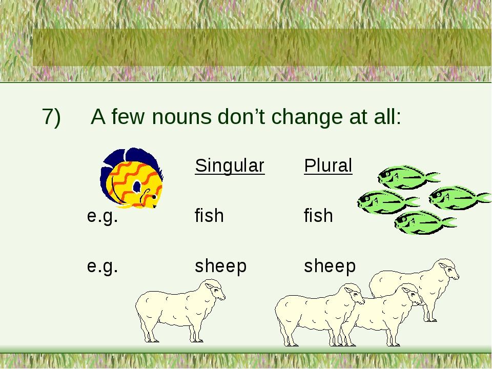 7)A few nouns don't change at all: