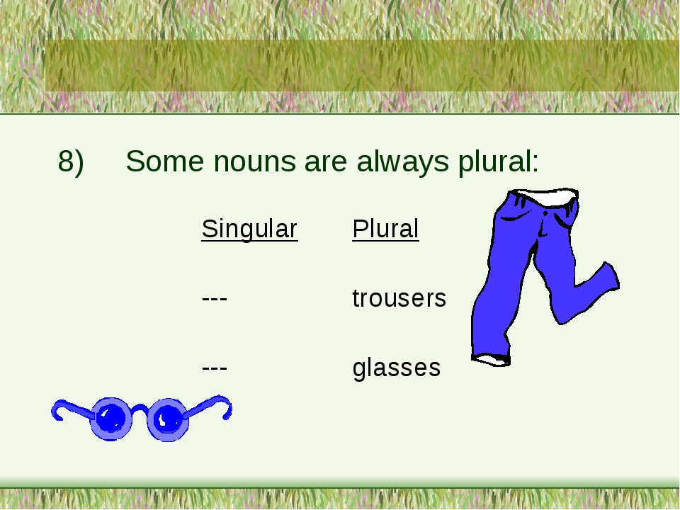 8)	Some nouns are always plural: