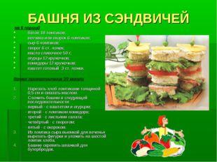БАШНЯ ИЗ СЭНДВИЧЕЙ на 6 порций батон 18 ломтиков; ветчина или окорок 6 ломтик