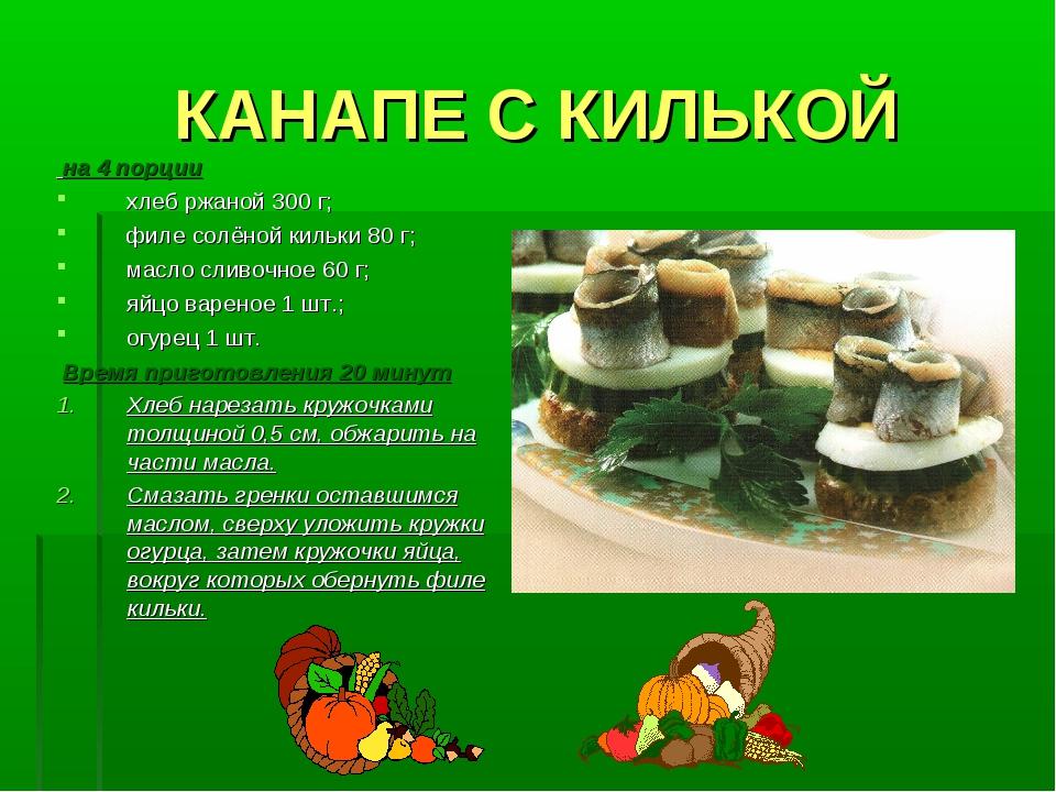 КАНАПЕ С КИЛЬКОЙ на 4 порции хлеб ржаной 300 г; филе солёной кильки 80 г; мас...
