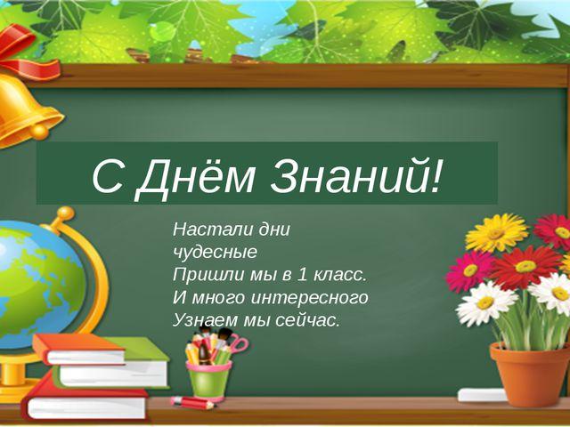 С Днём Знаний! Настали дни чудесные Пришли мы в 1 класс. И много интересного...