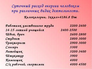 Килокалории, 1ккал=4186.8 Дж Работник умственного труда2200-2400 14-15-л