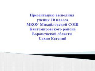 Презентацию выполнил ученик 10 класса МКОУ Михайловской СОШ Кантемировского