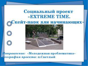 Социальный проект «EXTREME TIME. Скейт-парк для начинающих» Направление: «Мол