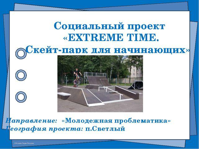 Социальный проект «EXTREME TIME. Скейт-парк для начинающих» Направление: «Мол...