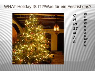 WHAT Holiday IS IT?/Was für ein Fest ist das? CHRISTMAS das WEIHNACHTEN